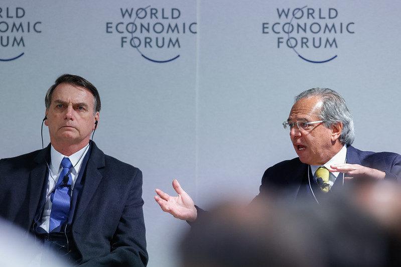 Jair Bolsonaro e Paulo Guedes em reunião do Fórum Econômico Mundial, em 22/01/2019. Foto: Alan Santos/PR