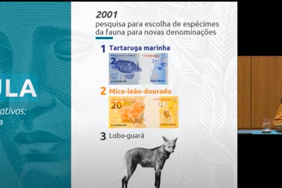 A diretora de Administração do Banco Central, Carolina Barros, anuncia a nova cédula de R$ 200.